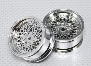 Scala 1:10 Wheel Set (2 pezzi) Chrome 'Hot Wire' RC 26 millimetri Car (senza Offset)