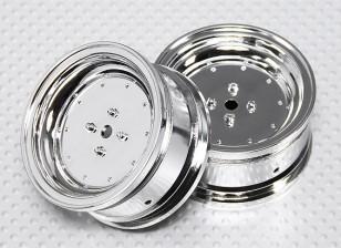 Scala 1:10 Wheel Set (2 pezzi) Chrome piatto di stile RC 26 millimetri Car (senza offset)