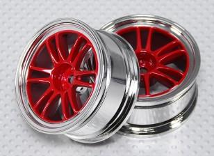 Scala 1:10 Wheel Set (2 pezzi) Red / Cromo Split 6 razze 26 millimetri RC Auto (senza offset)