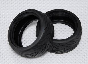 Scala 1:10 pneumatici in gomma Touring Car w / Tread 26 millimetri - medio composto (2 pezzi)