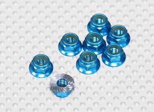 Blu Alluminio anodizzato M5 Nylock Wheel Nuts w / seghettato flangia (8pcs)
