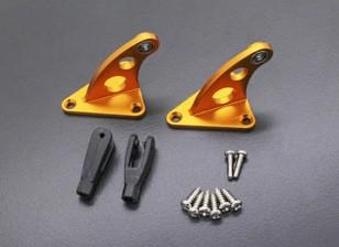 Lega CNC Horn controllo con cerniera oro anodizzato (coppia)