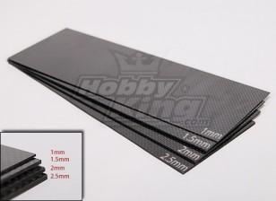 Tessuto in fibra di carbonio foglio 300x100 (2,5 mm di spessore)