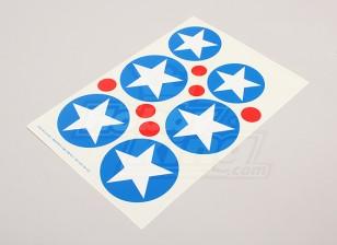 Scala nazionale Air Force Insignia Sticker Sheet - USA (tipo B)