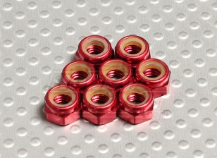Red alluminio anodizzato M5 Nylock Nuts (8pcs)