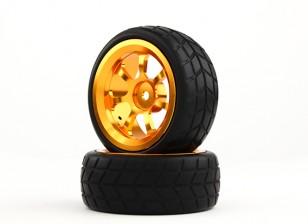 Dipartimento Funzione Pubblica 1/10 alluminio a 7 razze 12 millimetri Hex Wheel (oro) / VTC Tire 26 millimetri (2pcs / bag)