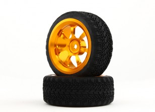 Dipartimento Funzione Pubblica 1/10 alluminio a 7 razze 12 millimetri Hex Wheel (oro) / W Tire 26 millimetri (2pcs / bag)