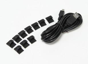 3 Meter USB a mini cavo di ricarica USB con tamponi di montaggio