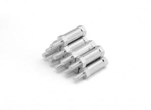 fine alluminio leggero rotonda Sezione Spacer con perno M3 x 15mm (10pcs / set)