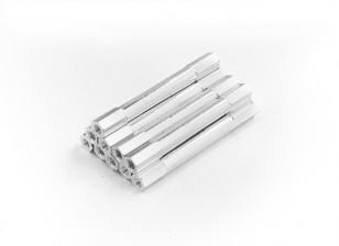 Alluminio leggero rotonda Sezione Spacer M3 x 45mm (10pcs / set)
