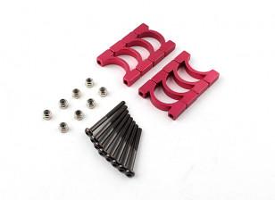 Rosso anodizzato CNC Super lega leggera tubo morsetto diametro 16 mm (4set)