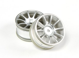 Ride 1/10 Mini 10 Spoke Wheel 0 millimetri Offset - Matt Silver (2 pezzi)