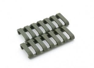 Ergo 7 slot LowProfile copertura ferroviario Ladder (2pcs / bag, verde militare)
