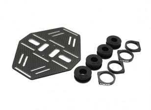 Carbon multi-rotore doppio supporto della batteria con gomma Damping Suits 10mm Bracci