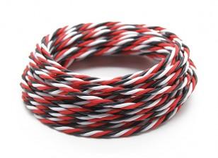 Ritorto 22 AWG Servo filo rosso / nero / bianco (5MTR)