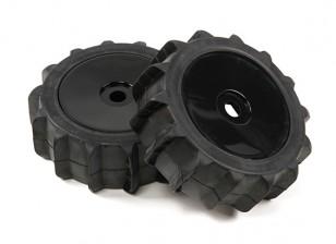 1/8 di scala nero Ruote piatto Pro con Paddle Stile Pneumatici (2pc)