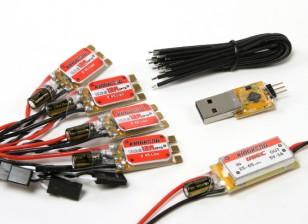 KINGKONG 12A OPTO ESC BLHeli (2-4S) (4 pezzi) Combo Pack w / UBEC e l'adattatore Programmazione