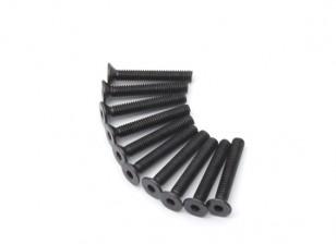Metallo a testa piatta macchina Vite Esagonale M4x26-10pcs / set