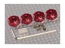 Adattatori ruota in alluminio rosso con viti del blocco - 5mm (12mm Hex)