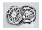 Scala 1:10 Wheel Set (2 pezzi) Bianco / Cromo Split 6 razze 26 millimetri RC Auto (offset 3 mm)