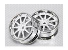Scala 1:10 Wheel Set (2 pezzi) Cromo / Bianco 10 razze 26 millimetri RC Auto (3mm Offset)