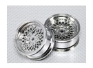 Scala 1:10 Wheel Set (2 pezzi) Chrome 'Hot Wire' RC 26 millimetri Car (senza Offset)