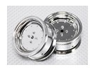 Scala 1:10 Wheel Set (2 pezzi) Chrome piatto di stile RC 26 millimetri Car (senza offset)