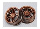 Scala 1:10 Wheel Set (2 pezzi) Bronzo Split 5 razze RC Auto 26 millimetri (3 mm di offset)
