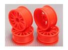 Impostare 01:10 Wheel Scale (4 pezzi) Arancione 14 razze 26 millimetri RC Auto