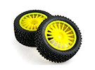 Basher RZ-4 1/10 Rally Racer - 30 millimetri Complete pneumatici posteriori Set - gialli (2 pezzi)