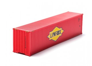 HO Scale 40ft Shipping Container (LINFOX)) front view