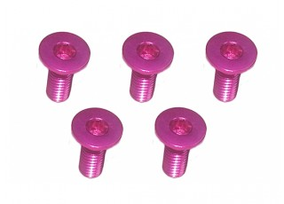 Screw Flat Head Hex M3x8mm Machine Thread 7075 Aluminum Pink (5pcs)