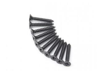 Screw Flat Head Phillips M3x18mm Self Tapping Steel Black (10pcs)