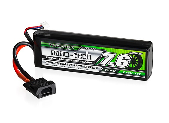 Turnigy nano-tech 7600mAh 2S 30C LiPo Battery w/Flat Connector