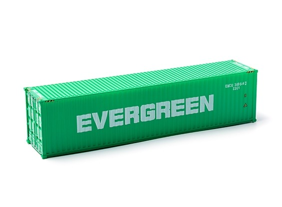 HO Scale 40ft Shipping Container (EVERGREEN) side view