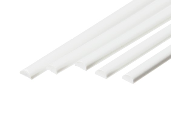 ABS Half Round Rod 4.0mm x 500mm White (Qty 5)