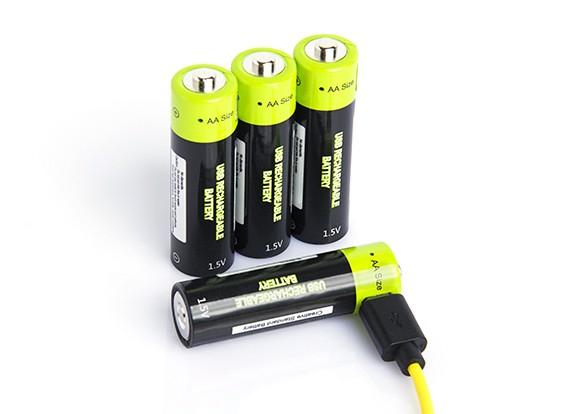 Znter 1.5V 1250mAh USB Rechargeable AA LiPoly Battery (4pcs)