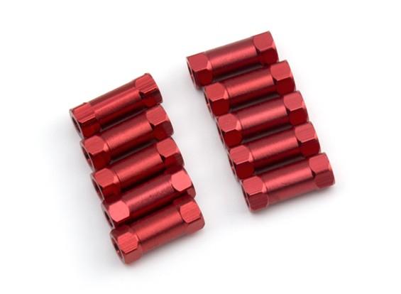 Легкий алюминиевый Круглый Раздел Spacer M3x13mm (красный) (10шт)