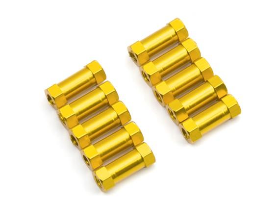 Легкий алюминиевый Круглый Раздел Spacer M3x13mm (золото) (10шт)