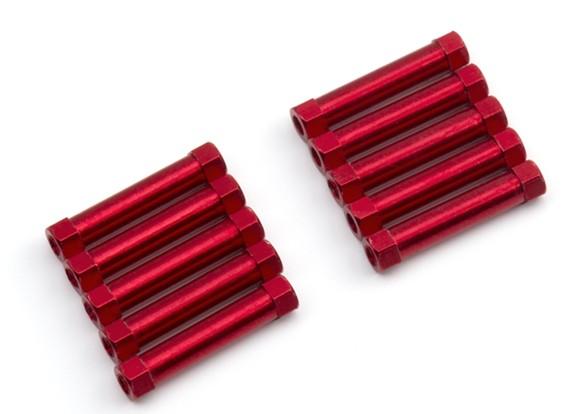 Легкий алюминиевый Круглый Раздел Spacer M3x25mm (красный) (10шт)