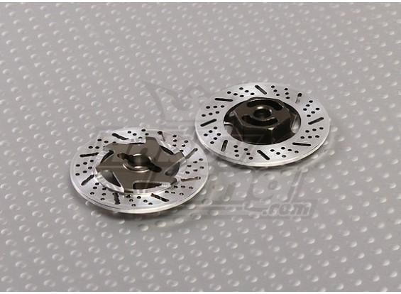 1/10 тормозного диска колеса Адаптеры 12mm Hex (Titanium Отделка - 2pc)