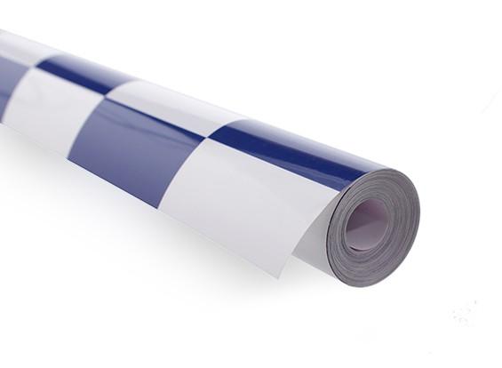 Покрывающей пленки Большой шаблон Гриль-работа синий / белый (5mtr)