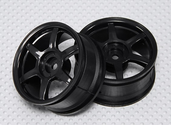 Набор 1:10 Масштаб колес (2 шт) черный 6-спицевые RC автомобилей 26мм (без смещения)