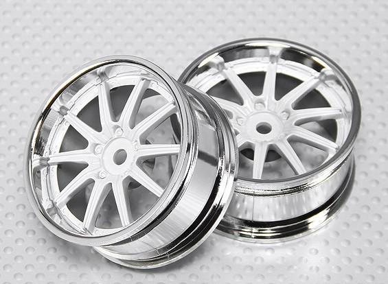 Масштаб 1:10 Набор колес (2шт) хром / белый 10-спицевые RC автомобилей 26мм (3 мм Смещение)