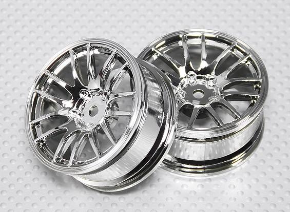 Масштаб 1:10 Набор колес (2шт) Chrome Split 7-спицевые RC автомобилей 26мм (3 мм смещение)