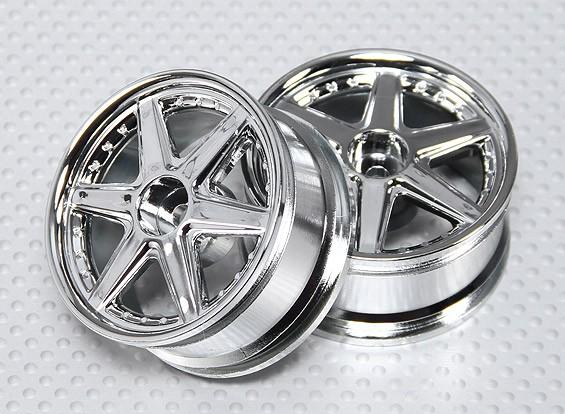 Набор 1:10 Масштаб колеса (2шт) хром 6-спицевые RC автомобилей 26мм (без смещения)