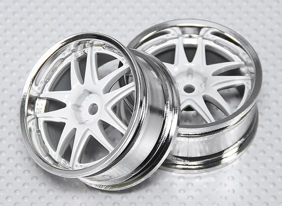 Масштаб 1:10 Wheel Set (2pcs) Белый / Хром Split 5-спицевые RC автомобилей 26мм (без смещения)