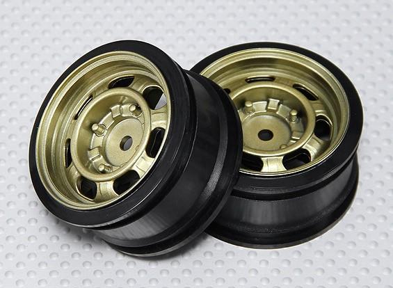 Набор 1:10 Масштаб колес (2 шт) Золотой Классический Стиль RC автомобилей 26мм (без смещения)