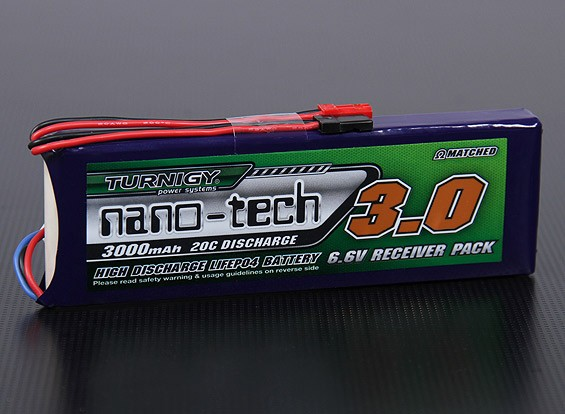 Turnigy нано-технологий 3000mAh 2S1P 20 ~ 40C LiFePo4 приемник Пакет
