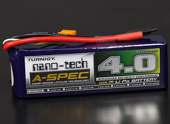 Turnigy нано-технологий A-SPEC 4000mAh 5S 65 ~ 130C Липо пакет